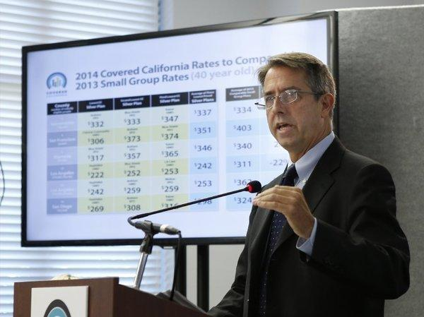 Covered California Executive Director Peter Lee at a May news conference. The state's health insurance exchange announced rates Thursday for small businesses under the Affordable Care Act.