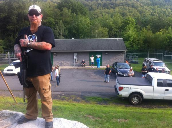 A man who did not want to be identified stands outside prior to the start of Wednesday night's Gilberton Borough Council meeting. Controversial Police Chief Mark Kessler and his profanity-laced YouTube videos will be on the agenda.