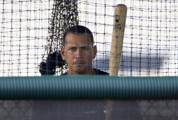 New York Yankees' Alex Rodriguez stands in the batting cage in Tampa July 31.