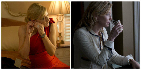 "Cate Blanchett wears emblems of Manhattan's super rich — a Carolina Herrera one-shoulder evening gown, left, and a boucle Chanel cardigan with trademark gold logo buttons — starring as a fallen socialite trying to reinvent herself in Woody Allen's ""Blue Jasmine."" The film's costume designer is *Suzy Benzinger."