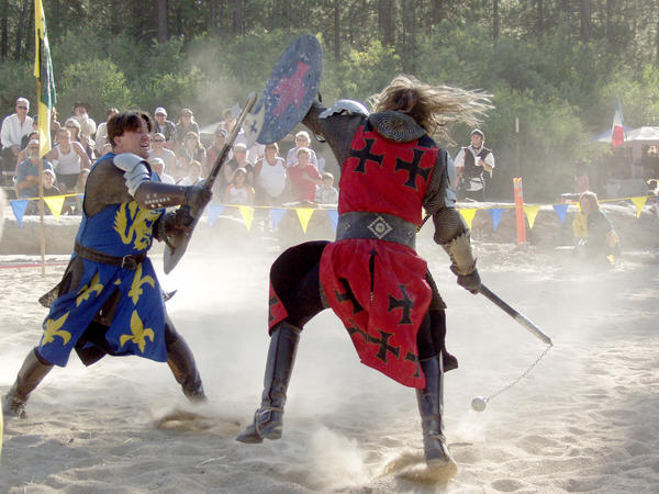 The Knights of Mayhem provide bone-crunching entertainment at the Big Bear Renaissance Faire.