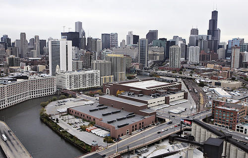 Aerial view of the Chicago Tribune's Freedom Center printing plant in the city.