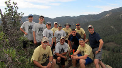Berlin Boy Scout Troop took a hiking trip to Philmont Scout Ranch in Cimmaron, N.M. From left, front row are: Ken Janicki, Chris Zanoni, Luke Sprowls. Second row: Cole Booth, Jacob Janicki, Levi Sprowls, Tyler Landis, Nate Zanoni, the Rev. Tom Sprowls. Back row: Austin Widner, Marshal Engleka and Hunter Stoe.