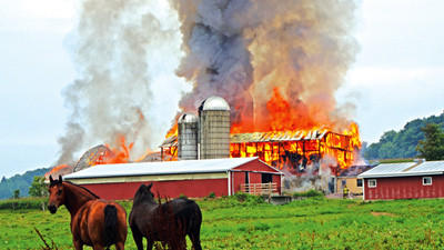 A Laurel Echo Farm barn caught fire Wednesday around 6 p.m. in Milford Township. New Centerville fire Chief Jim Saylor said his main concern was containing the fire and saving the milk house.