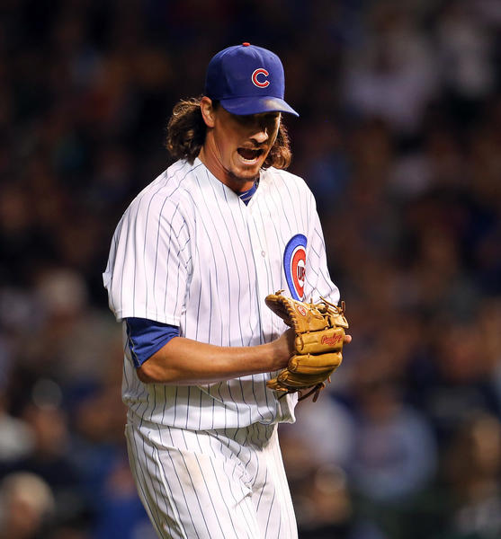 Cubs starting pitcher Jeff Samardzija reacts after striking out Brewers shortstop Jean Segura in the sixth inning.