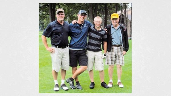 "Winners of the annual ""Saints and Sinners"" golf tournament were, from left: Fred Dinger, Cody Dinger, Landon Schamberg and John Karadeema."