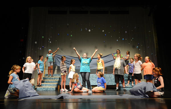 "Actors rehearse Wednesday for the Chambersburg (Pa.) Community Theater's Summer Theater Arts Group Experience, or STAGE, production of ""The Little Mermaid Jr."" at the Capitol Theatre in Chambersburg."
