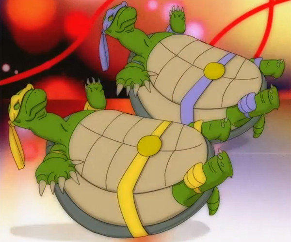 "A screengrab from a Fox network Animation Domination cartoon depicting ""scientifically accurate Ninja Turtles."""