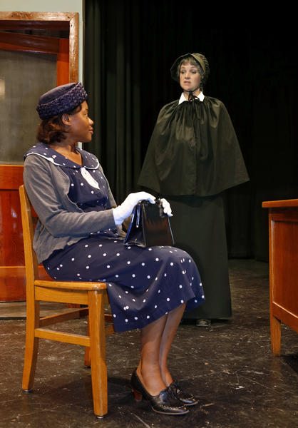 "Merleen Frank, left and Kelly Comstock, right, in a scene from the Aberdeen Community Theater production of ""Doubt: A Parable."""