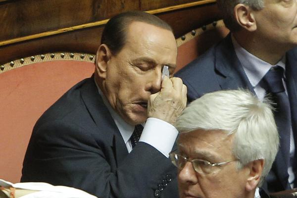 Former Italian Prime Minister Silvio Berlusconi seen here in the Italian Senate during a no-confidence vote on one of his allies July 19.