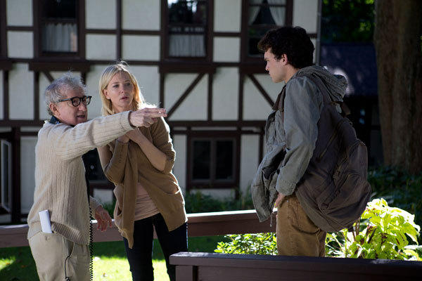 "Left to right: Director Woody Allen, Cate Blanchett and Alden Ehrenreich on the set of the film "" Blue Jasmine."""