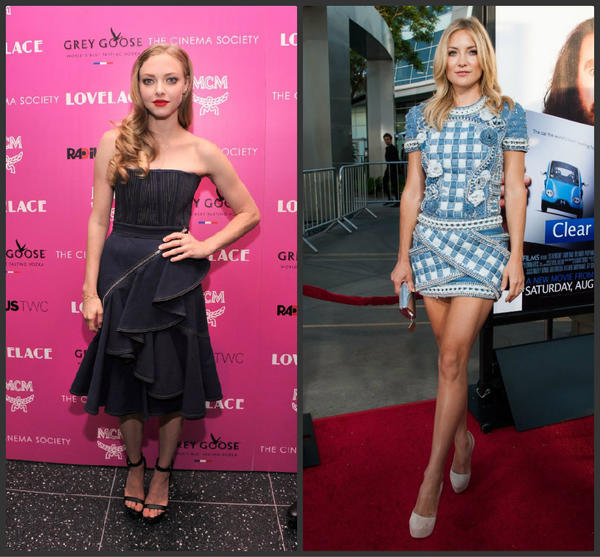 """Amanda Seyfried, left, wears Givenchy to a screening of """"Lovelace"""" in New York on Tuesday. At right, Kate Hudson in a Balmain mini-dress at the premiere Of HBO Films' """"Clear History"""" in Hollywood on Wednesday. Both outfits are from Resort 2014 collections."""
