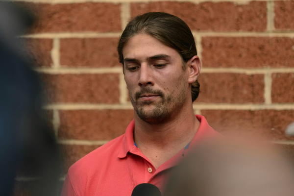 Philadelphia Eagles wide receiver Riley Cooper (14) addresses the media concerning an internet video at the Eagles NovaCare Complex. For the full story, click here.