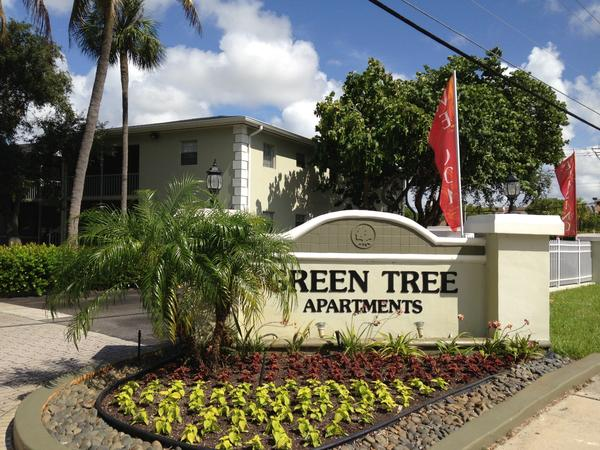 Green Tree Apartments at 5201 N. Dixie Highway in Oakland Park, where the Broward Sheriff's Office said a man carrying a shotgun was shot Wednesday afternoon by at least one deputy.