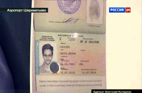 Russian authorities granted fugitive American Edward Snowden a passport-like document that identifies him as a U.S. citizen allowed to stay in Russia for the next year. The 30-year-old former National Security Agency contractor is wanted in the United States on espionage and theft charges.