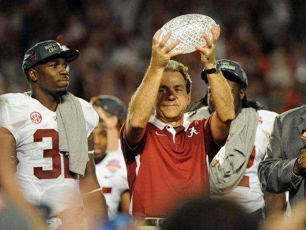 If you believe one college football poll, Nick Saban will be holding the BCS title against next year.