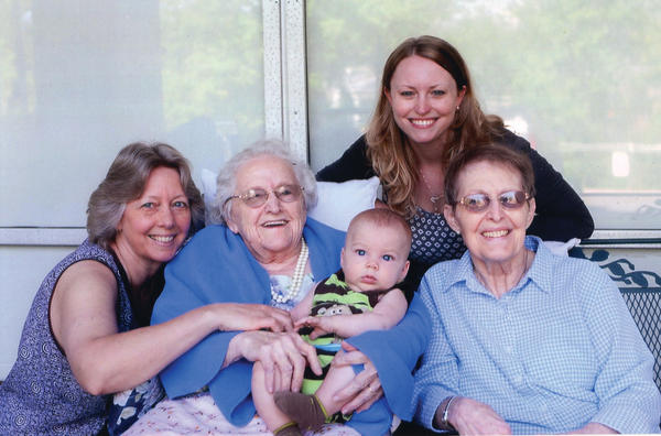 Five generations of Virginia Seibert from Clear Spring recently celebrated a spring day at Autumn Assisted Living Center. From left, Susan (Wilhide) Myers; Virginia Seibert, age 90; Noah Shriver; Jenna (Myers) Shriver, and Cassie (Seibert) Wilhide.