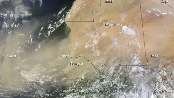 NASA's Terra satellite captured this image of a dust storm in the Sahara Desert and dust blowing into the eastern Atlantic Ocean on July 30 at 7:40 a.m. EDT.