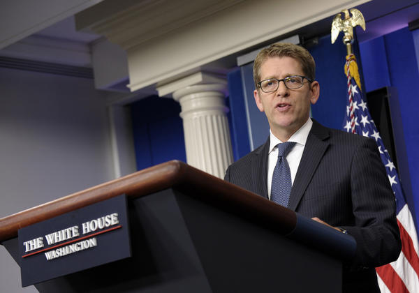 White House press secretary Jay Carney speaks during the daily briefing at the White House in Washington on Thursday. Carney was asked about National Security Agency leaker Edward Snowden, who left the transit zone of a Moscow airport and officially entered Russia after authorities granted him asylum for a year, his lawyer said.