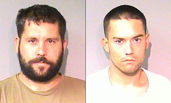 Ryan Balletto, left, 30, of Lakeport and Patrick Pearmain, 24, of Clearlake are accused of cultivating marijuana and sexually assaulting a 15-year-old girl they allegedly kept in a metal box.
