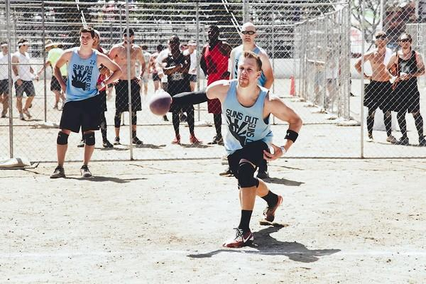 Jon Bohrer of Newport Beach hurls an 8-inch rubber ball used in the Ultimate Dodgeball Championships at the Orange County Fair last year. This year, he and his team, The Gun Show, hope they can improve on their second-place finish and win the event.