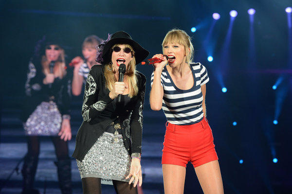 "Carly Simon, left, joined Taylor Swift at Gillette Stadium in Foxborough, Mass., to sing Simon's hit ""You're So Vain."""