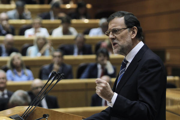 Spain's prime minister, Mariano Rajoy, addresses parliament about a corruption scandal.