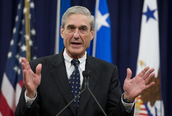 FBI Director Robert Mueller speaks during his farewell ceremony at the Department of Justice in Washington, D.C.