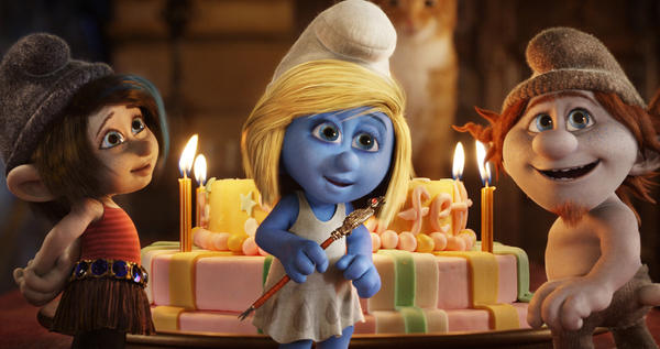 "This publicity image released by Sony Pictures Animation shows from left, Vexy, voiced by Christina Ricci, Smurfette, voiced by Katy Perry and Hackus, voiced by J.B. Smoove, in a scene from the film ""Smurfs 2."""