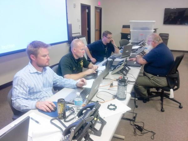 Officials monitor the Blue Rhino propane depot disaster at Lake County's new emergency operations center.