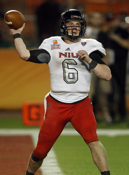 Northern Illinois Huskies quarterback Jordan Lynch passes during the Orange Bowl at Sun Life Stadium in Miami.