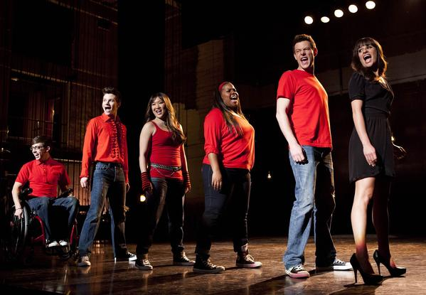"In this undated image released by Fox, cast members, from left, Kevin McHale, Chris Colfer, Jenna Ushkowitz, Amber Riley, Cory Monteith and Lea Michele perform during a scene from ""Glee."" Monteith, who shot to fame in the hit TV series ""Glee"" but was beset by addiction struggles so fierce that he once said he was lucky to be alive, was found dead in a Vancouver hotel room, police said. He was 31."