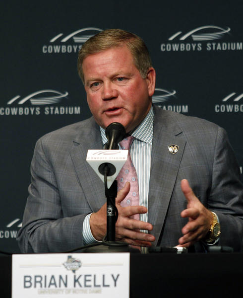 Notre Dame football coach Brian Kelly speaks during a news conference on May 2, at Cowboys Stadium in Arlington, Texas.