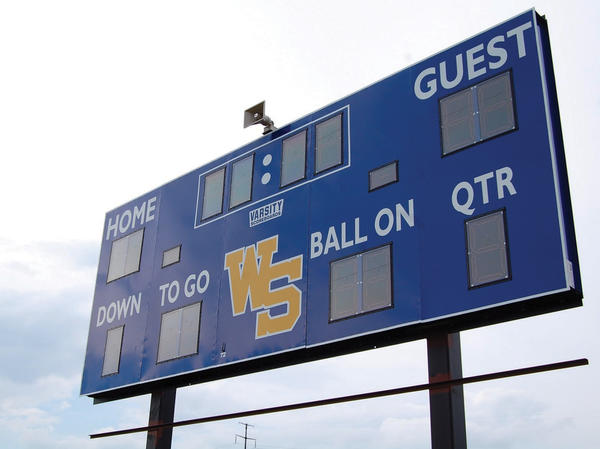 """Guest"" no more. The Waynesboro (Pa.) Stallions are moving back to town by creating a field on Welty Road. The field's new scoreboard was installed recently."