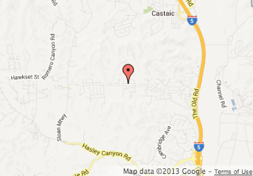 Map shows where an 8-year-old boy was rescued from a washing machine at his Castaic home.