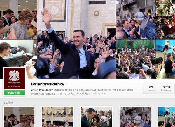 Amid the bloodshed of Syria's civil war, President Bashar Assad has used social media, including a new Instagram account, to project confidence and convey his message.