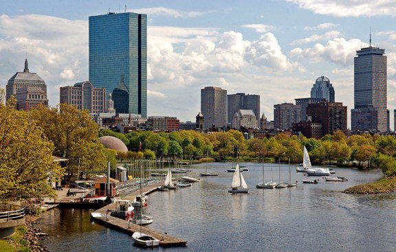 Boston's Back Bay neighborhood is situated along the tree-lined esplanade of the Charles River.