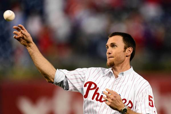Aug 1, 2013; Philadelphia, PA, USA; Brad Lidge the Philadelphia Phillies closer from the 2008 World Series throws out the first pitch prior to the game against the San Francisco Giants at Citizens Bank Park.