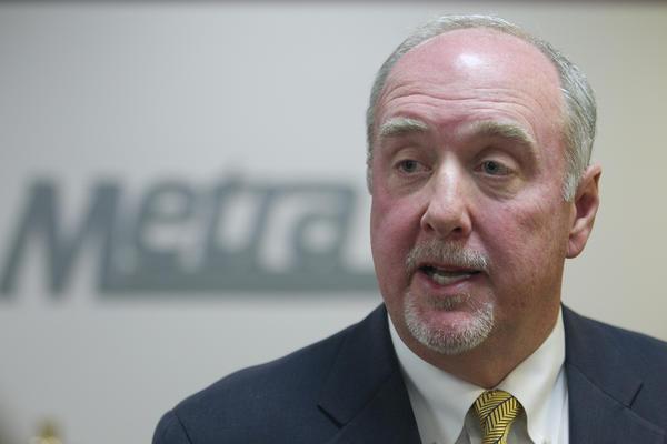 Metra Chairman Brad O'Halloran talks to the media in 2012.