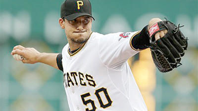 Pittsburgh Pirates starting pitcher Charlie Morton (50) delivers during the first inning of a baseball game against the St. Louis Cardinals in Pittsburgh on Thursday.