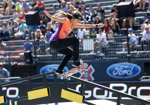 Leticia Bufoni of Sao Paulo, Brazil competes in the Women's Skateboard Street Final for the X Games at L.A. Live on Thursday. Bufoni won 1st place in the competition.