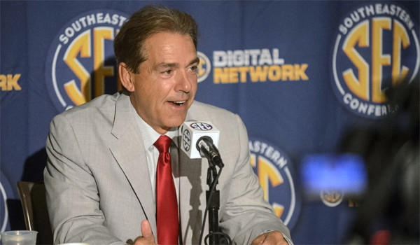 Alabama Coach Nick Saban's team is ranked No. 1 in USA Today's preseason college football poll.