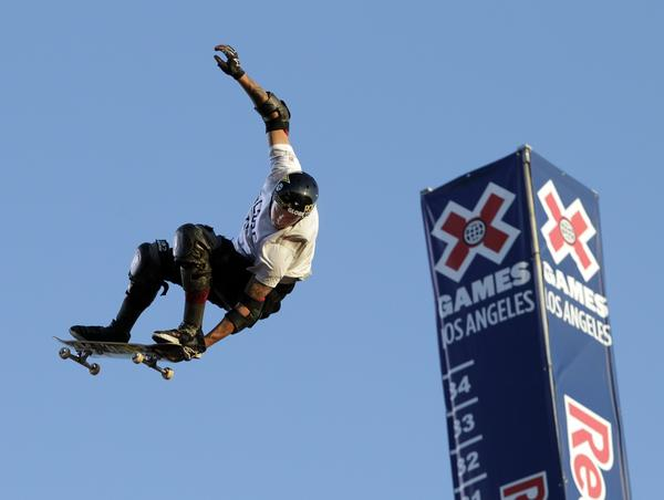 Elliot Sloan soars high off the MegaRamp to take the gold medal in the Skateboard Big Air Final at Irwindale Event Center on Thursday.