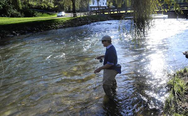 Victor Yansheski of San Francisco in 2011 fishes in Little Lehigh Creek, downstream from Lower Macungie Township, where new rules should help protect the stream from malfunctioning septic tanks.