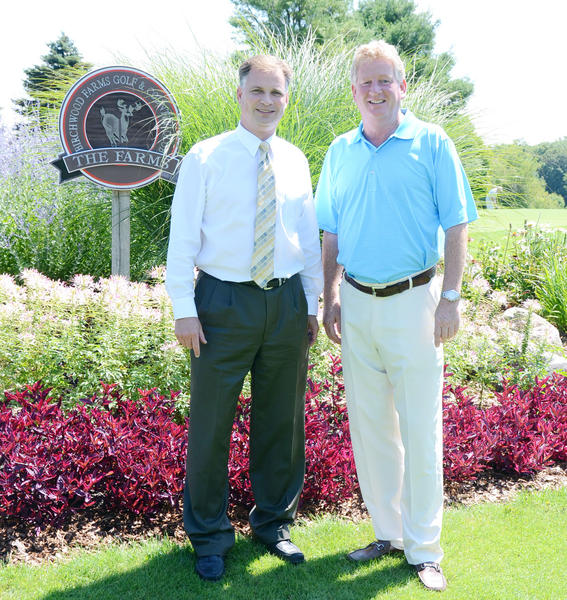 Birchwood Farms Golf and Country Club general manager John Foster (left) and head PGA professional Cris Cavitt stand next to the No. 1 tee box on the Farms Course Thursday in Harbor Springs. Birchwood Farms Golf and Country Club will host the Michigan Senior PGA Professional Championship Monday and Tuesday, Aug. 5-6, in a 36-hole event featuring the states top senior players.