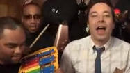 Fallon and Robin Thicke do 'Blurred Lines' with classroom instruments
