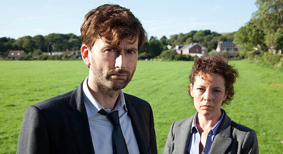 "David Tennant portrays Alec Hardy and Olivia Colman is Ellie Miller in the popular British series ""Broadchurch."""