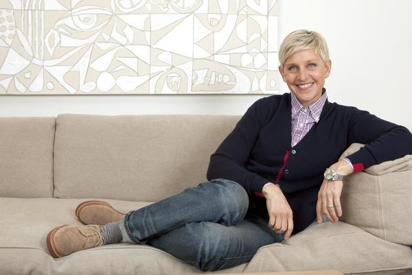 Talk show host Ellen DeGeneres sits in her Warner Bros. studio dressing room in Burbank. DeGeneres' appeal is enormous in her 10th year as a syndicated talk host.