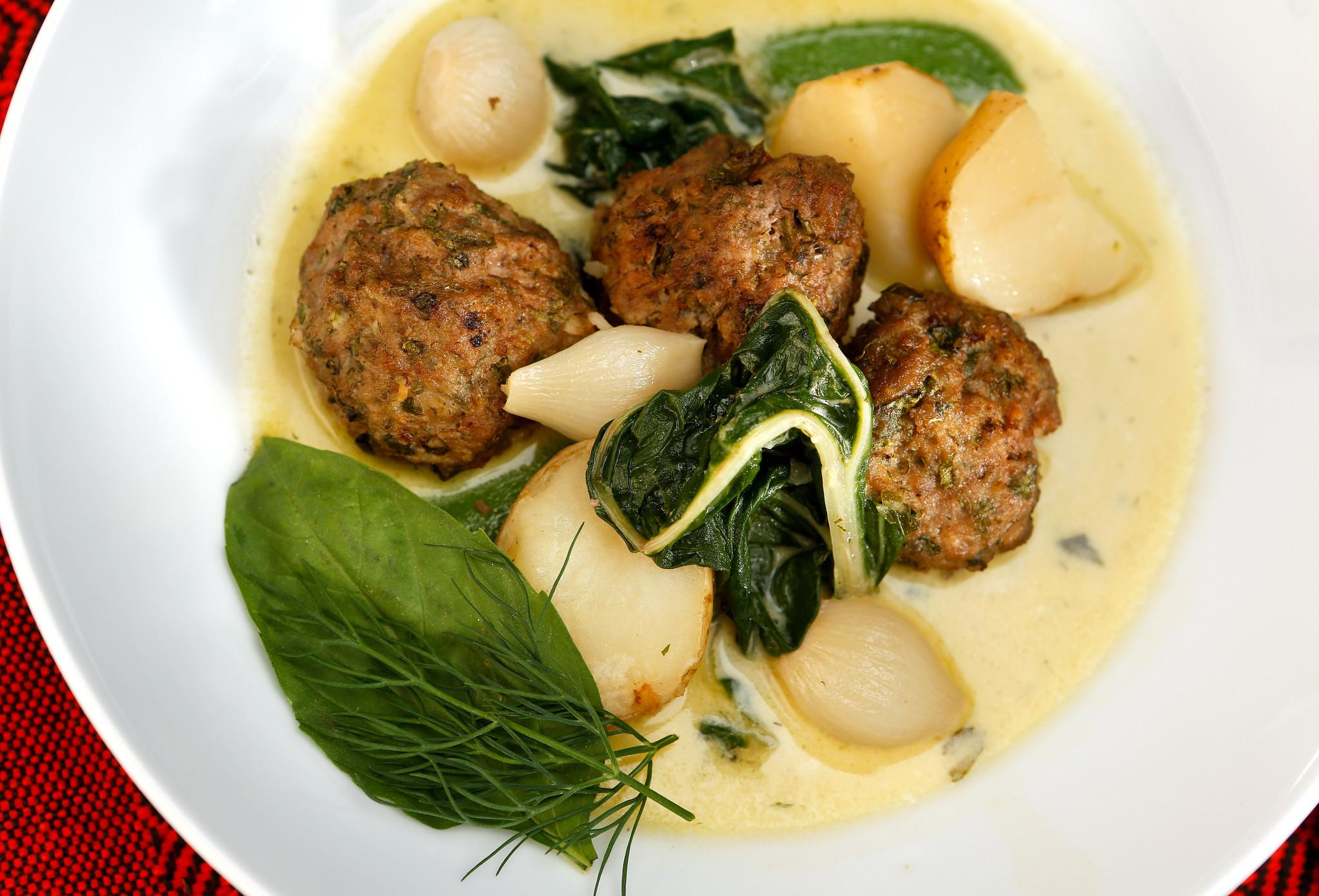 Meatball haslama with tahini liaison. Recipe: Meatball haslama with tahini liaison.