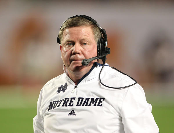 Notre Dame coach Brian Kelly during the BCS National Championship game in January.